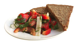 Tomato salad and rye bread Stock Photos
