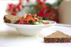 Tomato salad and rye bread Royalty Free Stock Photography