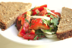 Tomato salad and rye bread. On white table Stock Photography