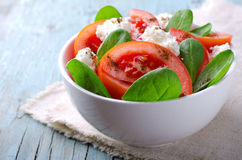 Tomato salad with spinach, cottage cheese, olive oil and pepper on blue wooden background Royalty Free Stock Photos