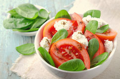 Tomato salad with spinach, cottage cheese, olive oil and pepper on blue wooden background Stock Photos