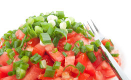Tomato salad with spring onion Stock Photo