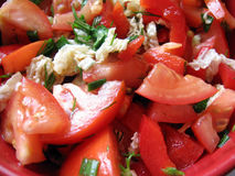 Tomato salad texture. Tomato salad with pepper and greens Stock Images