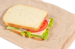 Tomato, salami and cheese sandwich Stock Photography