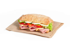 Tomato, salami and cheese sandwich Royalty Free Stock Images