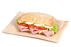 Tomato, salami and cheese sandwich Royalty Free Stock Image