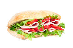 Tomato, salami and pepper sandwich Stock Image