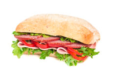 Tomato, salami and pepper sandwich Royalty Free Stock Photography