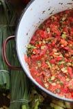 Tomato salsa. In large pan taken above royalty free stock photography