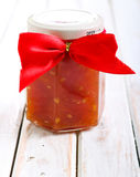 Tomato salsa in a jar Royalty Free Stock Images