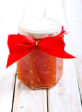 Tomato salsa in a jar Stock Image