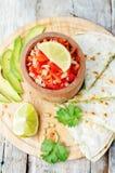 Tomato salsa, Pico de Gallo, with cilantro pesto quesadilla Royalty Free Stock Photos