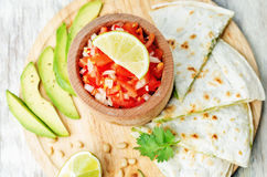 Tomato salsa, Pico de Gallo, with cilantro pesto quesadilla Stock Photography