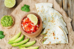 Tomato salsa, Pico de Gallo, with cilantro pesto quesadilla. The toning. selective focus royalty free stock image