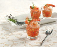 Tomato salsa with shrimp Stock Photography