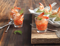 Tomato salsa with shrimp and Avocado cream and shrimp in spoon Stock Image