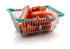 Tomato San Marzano. San Marzano tomatoes in shopping basket  on white background Royalty Free Stock Photos