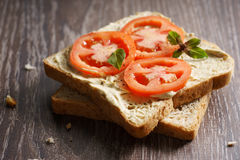 Tomato sandwich Stock Photography