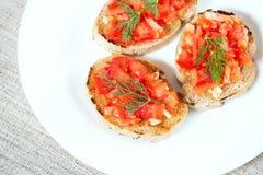 Tomato sandwiches Stock Image
