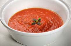 Tomato sauce. Fresh tomato sauce in a ceramic bowl Royalty Free Stock Image