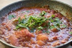 Tomato sauce all'arrabbiata in pan Stock Image
