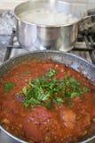 Tomato sauce all'arrabbiata in panand potato dumplings in cookin Stock Photos