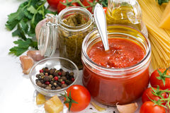 Tomato Sauce And Ingredients For Pasta Stock Photography