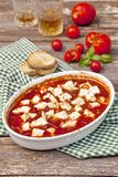 Tomato sauce with baked feta. Spicy tomato sauce with baked feta Royalty Free Stock Image