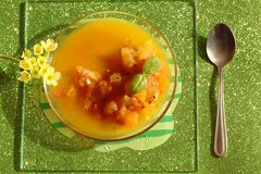 Tomato sauce with basil and flower Stock Image