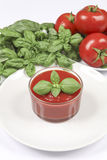 Tomato Sauce. With basil and fresh tomatoes on a white background Stock Image