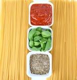 Tomato sauce, basil, spice, spaghett Royalty Free Stock Image