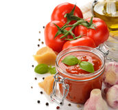 Tomato sauce with basil Stock Photography