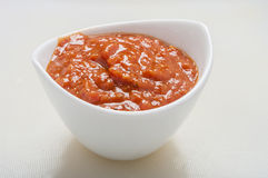 Tomato sauce in bowl Royalty Free Stock Images
