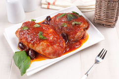 Tomato sauce braised chicken with olives Stock Photos