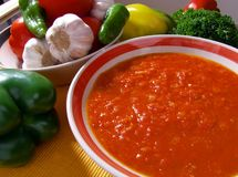 Tomato sauce. Called rougaille in Mauritius. Spicy and unique flavored sauce to accompany a variety of meats and fish Royalty Free Stock Photo