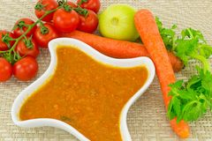 Tomato sauce and carrots Royalty Free Stock Images