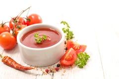 Tomato sauce. Close up on tomato sauce stock photo