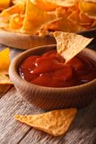 Tomato sauce and corn chips nachos close up. Vertical Stock Photography