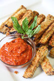 Tomato sauce with eggplant fries vertical Stock Photo