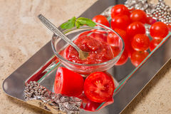 Tomato sauce, gaspacho, ketchup Royalty Free Stock Photo