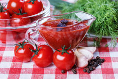 Tomato sauce,greens Stock Photo