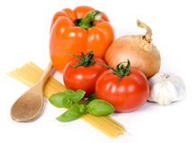 Tomato sauce ingredient. Over white background Royalty Free Stock Photos