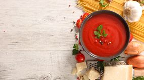 Tomato sauce and ingredient Royalty Free Stock Images