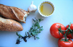 Tomato sauce ingredients and bread Stock Image