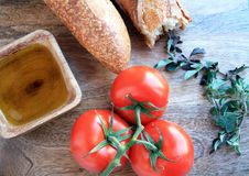 Tomato sauce ingredients and bread Royalty Free Stock Images