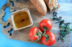 Tomato sauce ingredients and bread Royalty Free Stock Photos