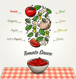 Tomato Sauce Ingredients Falling Down Stock Photo