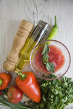 Tomato sauce ingredients with oil bottle Royalty Free Stock Photography