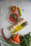 Tomato sauce ingredients with oil bottle Royalty Free Stock Image