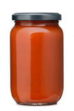 Tomato sauce. Jar on white background Stock Photos